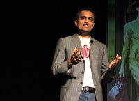 TrueFacet CEO Tirath Kamdar pitches at Techstars Seattle Demo Day 2014.