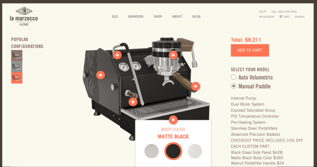 La Marzocco's new interactive site lets buyers customize their machines before buying.