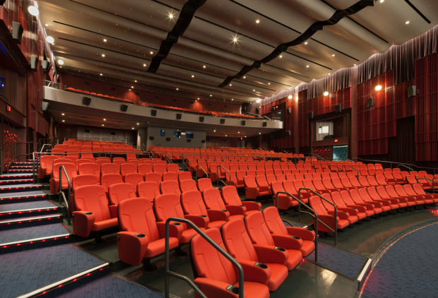 New seats with extra leg room reduced the capacity of the theater from nearly 800 to 570. (Cinerama Photo)