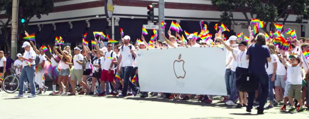 Apple employees march in San Francisco's Pride parade.