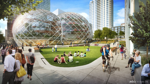 Amazon is planning biodomes for its Denny Triangle project, which is now under construction