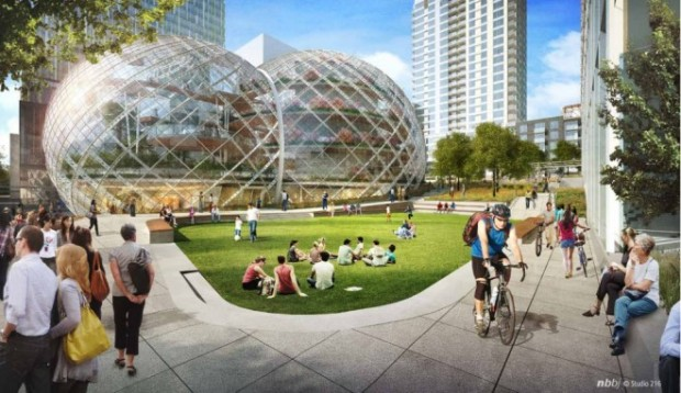 Bubble-Like Domes Planned for Amazon's Campus