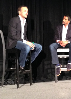 Concur president Raj Singh, left, interviewed by 9Mile co-founder Sandy Sharma