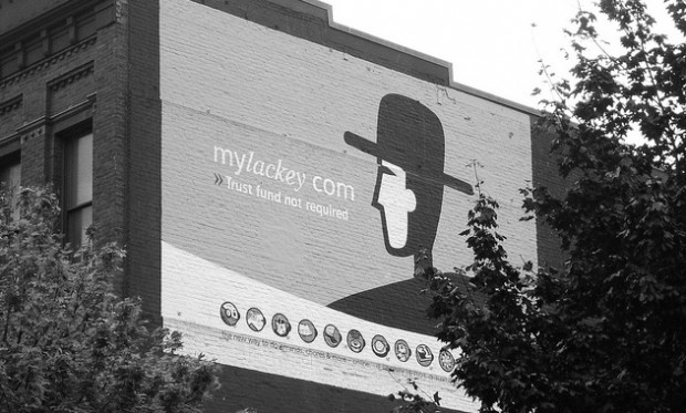 This MyLackey mural, since covered, remained on the side of a building in Seattle's Belltown neighborhood for years after the company closed. (Photo by Belltown Messenger, via Flickr.)