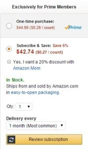 amazon diapers price
