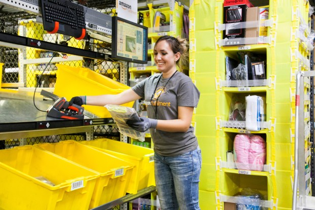 Amazon employee picking at a fulfillment center. (Credit: Amazon)