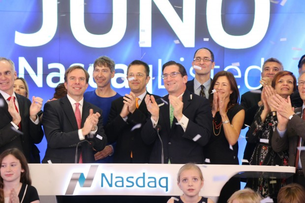 The Juno Therapeutics team rings in the opening bell at the New York Stock Exchange earlier this month. Photo via NASDAQ.
