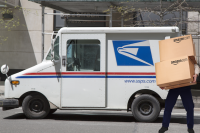 Composite Image/Photo Illustration by Monica Nickelsburg/GeekWire. Not an actual USPS employee.