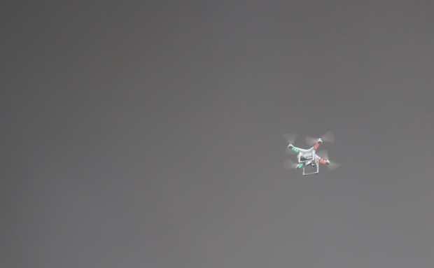 A consumer drone capturing dramatic images of a fire in Seattle's Fremont neighborhood.