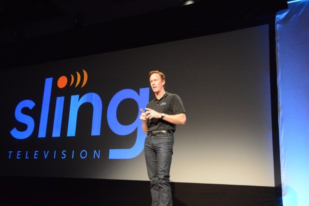 Robert Lynch, CEO of Sling TV, announcing Sling TV at CES. (GeekWire Photo by Kevin Lisota)