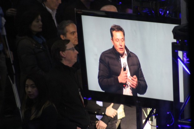 As Musk gave a speech and answered questions from the audience for about 30 minutes total, he was projected onto multiple screens throughout Fisher Pavilion at Seattle Center.