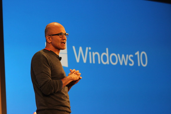 Microsoft CEO Satya Nadella at the Windows 10 consumer unveiling in January.