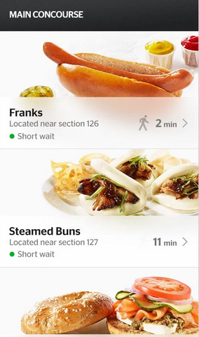 You can order food from an app at Levi's Stadium and see how long the lines are.