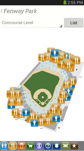 MLB's Ballpark app shows a map of stadiums and lets people upgrade their seats.