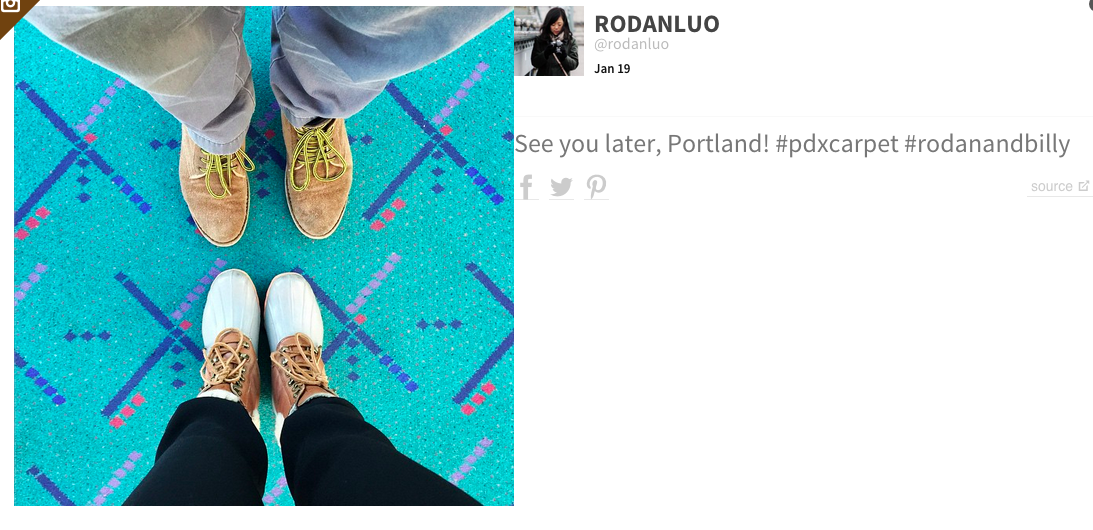 Portland International Airport's aquamarine carpet goes viral on Instagram and Facebook with 30K-plus 'footies'