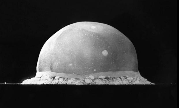 Photo via Wikipedia of Trinity Site explosion, July 16, 1945