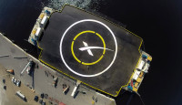 "The ""autonomous spaceport drone ship"" that SpaceX built to recover the Falcon 9 first stage."