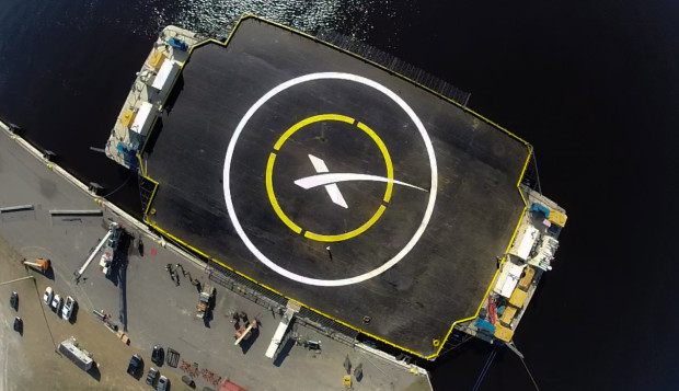 """The """"autonomous spaceport drone ship"""" that SpaceX built to recover the Falcon 9 first stage."""