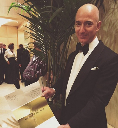 Amazon CEO Jeff Bezos at the Golden Globes.
