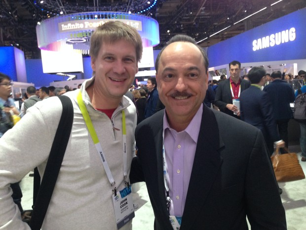 GeekWire co-founder John Cook with AT&T CEO Ralph de la Vega at CES,