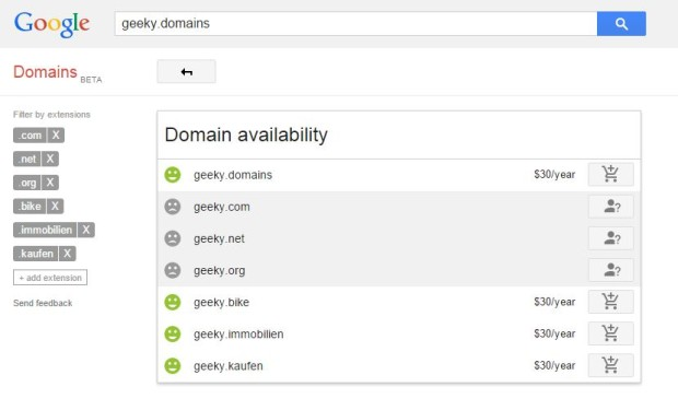 Google Domains - domain availability