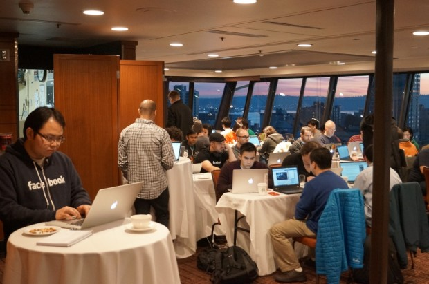 Facebook Seattle employees gathered at the Space Needle today for an internal hackathon.