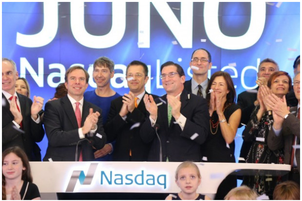 Breakout biotech company Juno Therapeutics celebrates last year's IPO.