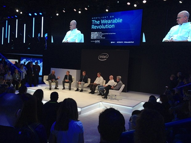 A panel at the Intel booth on wearables where Oakley CEO Colin Baden speaks