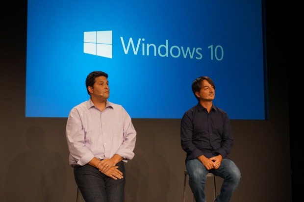 Microsoft Windows executives Terry Myerson and Joe Belfiore at the first Windows 10 preview event in September. (GeekWire File Photo)