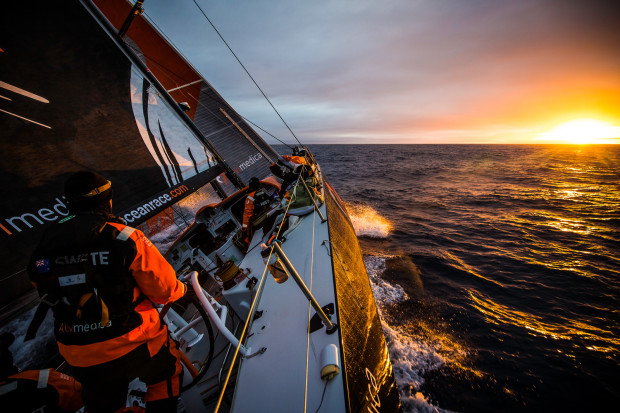 November 4, 2014. Leg 1 onboard Team Alvimedica. Day 24. With just 650 miles to Cape Town, the sailing slows considerably as a high-pressure system moves in from the west. The first sunrise onboard Alvimedica in a week.