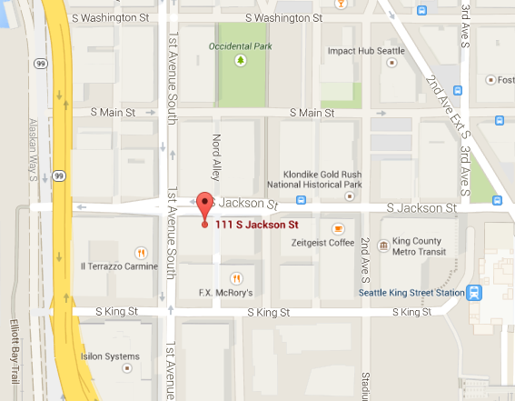 The new Galvanize building is located in the middle of Pioneer Square. Map via Google Maps.