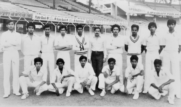 cricket-sanjayU15 Sanjay P at the Bombay Wankhede Stadium representing South Zone Under 19 (Sanjay is standing second from left)