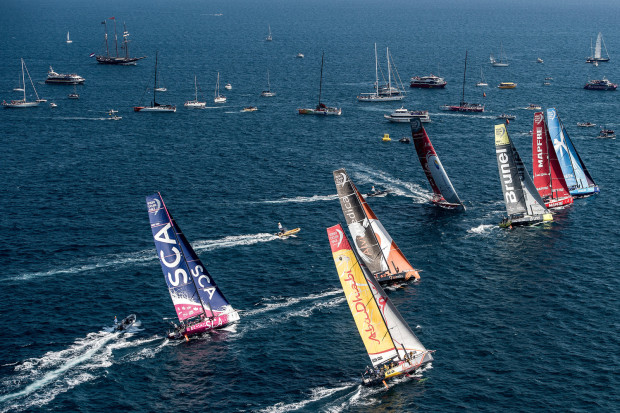October 4, 2014. Aerial view of the fleet during the In-Port Race in Alicante.