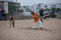 Indix CEO Sanjay Parthasarathy plays some beach cricket.