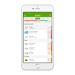 The Prism app helps consumers easily track and pay their bills.