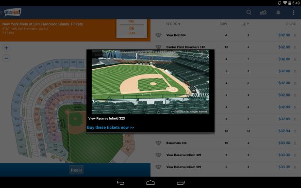 Stubhub's Amazon Fire Phone app uses 3D images to display stadiums to ticket buyers.