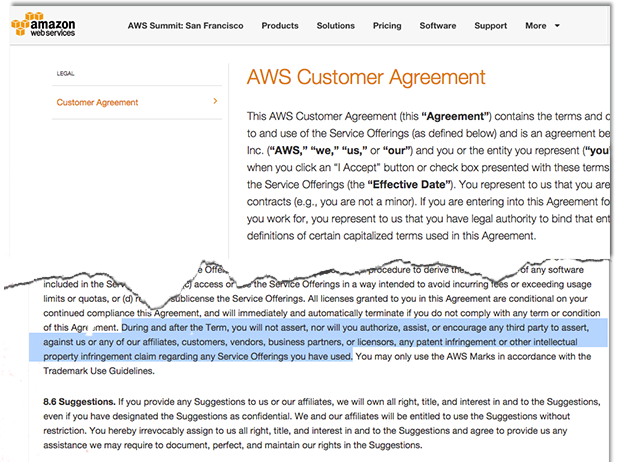 Amazon Web Services drops controversial patent clause from standard user agreement