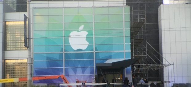 Apple's signage outside the Yerba Buena Center for the Arts Theater
