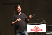 ACLU Principal Technologist Chris Soghoian speaks on Wednesday at Town Hall in Seattle.