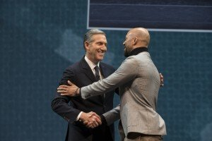 Howard Schultz and Common at the 2015 Starbucks Annual Shareholder Meeting.