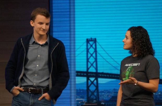 Minecraft modder Aidan Brady and Microsoft Student Experiences Lead Briana Roberts