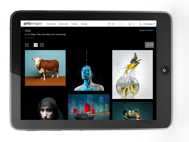 Getty Images Boards on iPad
