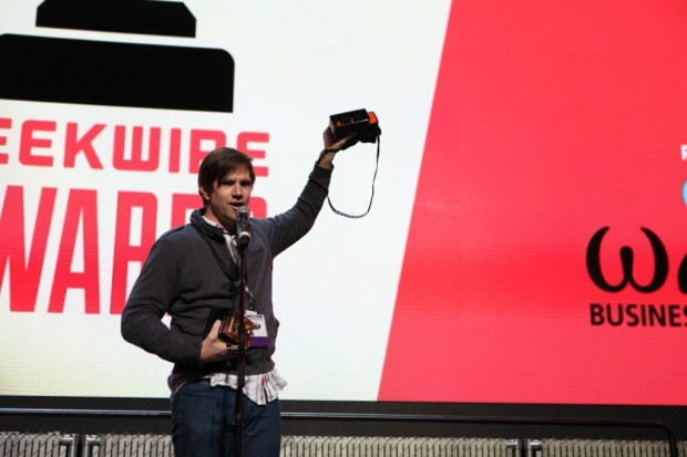 Poppy co-founder Joe Heitzeberg accepts the 2014 GeekWire Award for Hardware/Gadget of the Year.