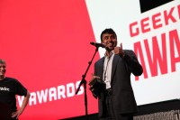 ExtraHop's Raja Mukerji accepts last year's Innovation of the Year prize on behalf of the company.
