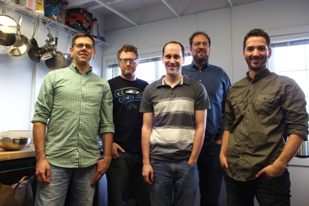 Some of the Meld team: Co-founder Jon Jenkins, engineer Owen Hay, engineer Mark Baumback, co-founder Darren Vengroff, and Matt Goyer, head of marketing.