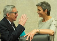 European Commission President Jean-Claude Juncker and European Commissioner for Competition Margarethe Vestager
