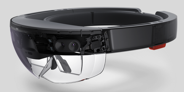 A cutaway view of the Hololens Hardware.