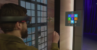 HoloLens demonstrated during Microsoft's Build keynote.