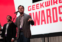 Jeremy Irish of Geocaching takes home the Bootstrapper of the Year Award at the 2014 GeekWire Awards