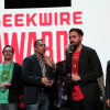 The Leafly team celebrates the App of the Year award at the 2014 GeekWire Awards.